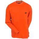 CAT Apparel Shirts: Men's 1510053 10102 Orange Long-Sleeve Trademark Pocket Tee Shirt