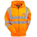 CAT Apparel Sweatshirts: Men's 1910804 607 Hi Vis Orange Reflective Full-Zip Lined Sweatshirt