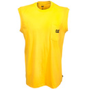 CAT Apparel Shirts: Men's W07074 555 Yellow Trademark Sleeveless Pocket Tee Shirt