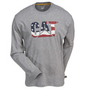 Caterpillar Shirts: Men's Heather Grey 1510318 11103 Custom Logo Long Sleeve Shirt