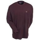 Wrangler Shirts: Men's Burgundy 3W710BG Cotton Long Sleeve Pocket Tee Shirt