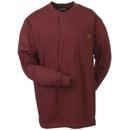 Wrangler Riggs Shirts: Men's Burgundy 3W750 BG Long Sleeve Henley Work Shirt