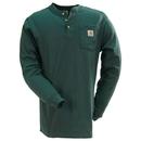 Carhartt Shirts: Men's K128 HTG Long Sleeve Hunter Green Henley Shirt