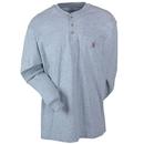 Carhartt Shirts: Men's Grey Long Sleeve K128 HGY Cotton Knit Henley Shirt