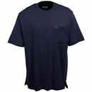 Wrangler Riggs Shirts: Men's Navy 3W700 NV Cotton Jersey Short Sleeve Shirt