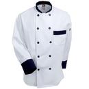 Chef Designs Coat: Long Sleeve Black Trim Chef Coat KT74 BT