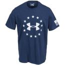 Under Armour Shirts: Men's 1268759 408 Grey Blue Academy Freedom Tee Shirt
