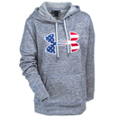 Under Armour Sweatshirts: Women's 1277509 025 Water-Resistant Grey Flag Logo Hoodie