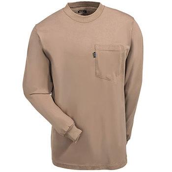 Key Shirts: Men's Khaki Cotton 860 24 Long-Sleeve Pocket Tee Shirt