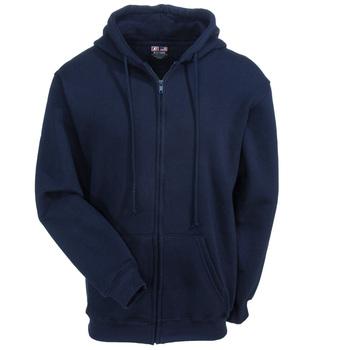 Bayside Sweatshirts: Men's BA900 NVY Navy Blue Heavyweight USA-Made Hooded Full-Zip Sweatshirt