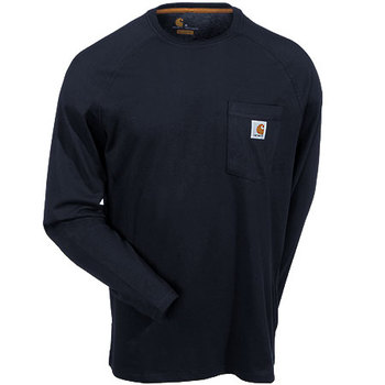 Carhartt Force Shirts: Men's 100393 001 Black Force Long Sleeve Moisture Wicking Shirt