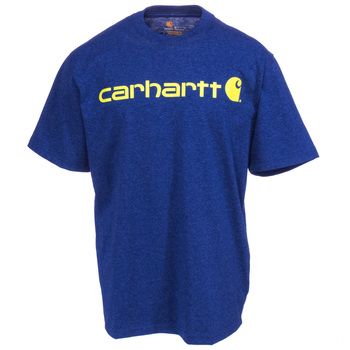 Carhartt Shirts: Men's K195 413 Dark Cobalt Blue Heather Short-Sleeve Logo T-Shirt