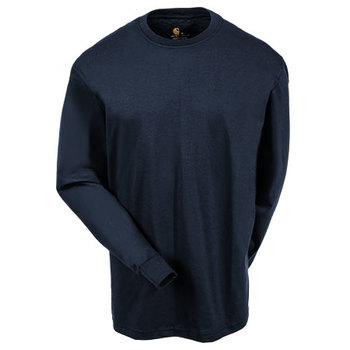 Carhartt Shirts: Men's K231 NVY Navy Blue Cotton Long Sleeve Logo Shirt