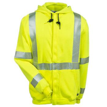 National Safety Apparel Sweatshirts: Men's C21HC05C3 Yellow Hi Vis FR Fleece Sweatshirt