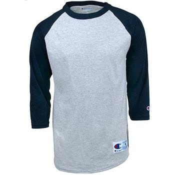 Champion Men's T1397 Oxford/Navy Raglan 6.1 Ounce Baseball T-Shirt