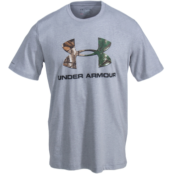 Under Armour Shirts: Men's 1271828 025 True Grey Heather Camo Fill Logo Tee Shirt
