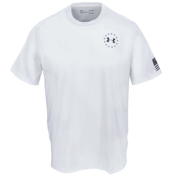 Under Armour Shirts: Men's White 1299257 100 Charged Cotton Freedom Flag Tactical T-Shirt