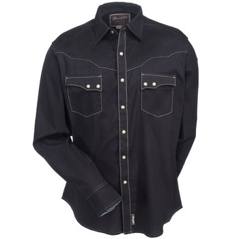 Wrangler Shirts: Men's Black MVR249X Long Sleeve Retro Snap Down Shirt