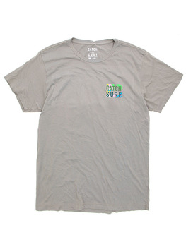 Catch Surf Circle Script T Shirt in Glacier Grey
