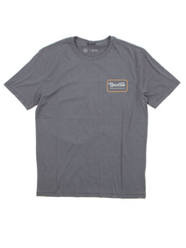 Brixton Grade T Shirt in Steel Blue/Gold