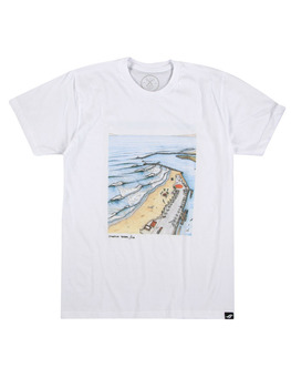 Surf Ride Oside Harbor Syka Collab T Shirt in White