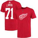 Detroit Red Wings Dylan Larkin Adidas NHL Silver Player Name & Number T-Shirt