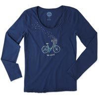 Life is Good Women's Bike Heart Basket Smooth Long Sleeve Tee