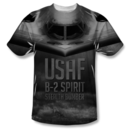 Men's US Air Force T-Shirt with Stealth Bomber Front-Back Dye Sublimation Graphic