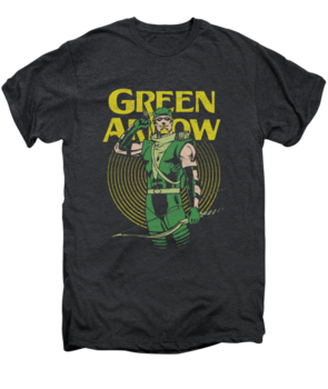 Men's Green Arrow T-Shirt with Vintage Pull Graphic