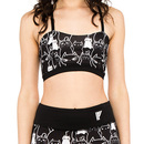 Stacked Cats Caged-Back Sports Bra - Black