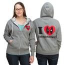 Deadpool I Love Chimichangas Zip Up Ladies Hoodie - Exclusive - Heather Grey