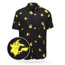 Pokémon Pikachu Evolution Short Sleeve Button-Up Shirt - Black