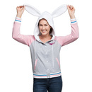 Overwatch D.Va Hooded Ladies' Varsity Jacket - Heather Grey / Light Pink