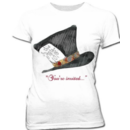 Mad Hatter You're Invited Juniors T-shirt