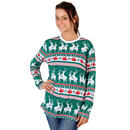 Green Reindeer All Over Ugly Christmas T-Shirt