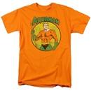 Aquaman Circle Image Orange Adult T-shirt