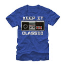 Nintendo Keep It Classic Controller Adult Royal Heather Blue T-Shirt
