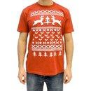 Two Prancing Reindeer XOXO Tree and Heart 8-Bit Design T-shirt