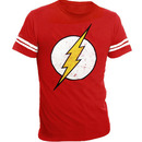 The Flash Distressed Logo With Striped Sleeves T-shirt