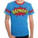 Comic Book Type Bazinga Striped Sleeves Blue Adult T-shirt