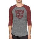 Autobots Logo and Rustic Red Baseball Raglan T-shirt