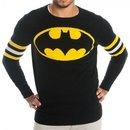 Batman Logo Knitted Sweatshirt with Striped Sleeves
