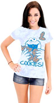 Sesame Street Cookie Monster Nom Nom Cookies Tie-Dye T-Shirt