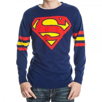 Superman Logo Knitted Sweatshirt with Striped Sleeves