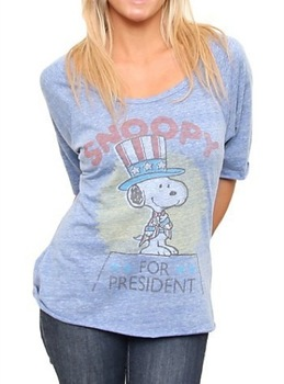 Snoopy For President Triblend Slouch Raglan Liberty T-shirt