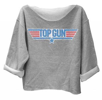 Top Gun Distressed Logo Off the Shoulder Fleece Sweatshirt
