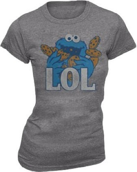 Sesame Street Cookie Monster LOL Heather Gray Juniors T-shirt