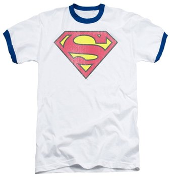 Superman Retro Logo White With Blue Ringers T-shirt