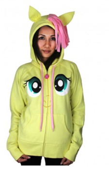 Fluttershy Pegasus Face Butter Yellow Hoodie with Mane and Wings