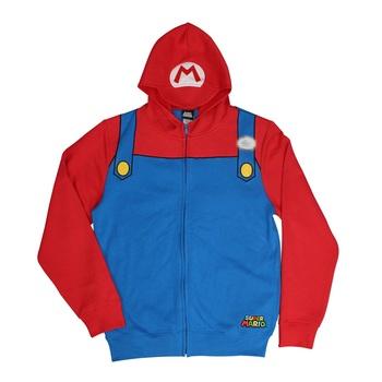 Super Mario Bros Mario Costume Zip Up Hoodie Sweatshirt